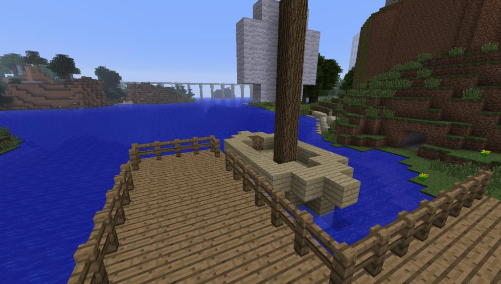 Ship Docked. Корабль на пристани в Майнкрафт.