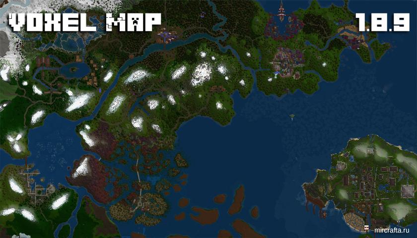 Мод VoxelMap для Майнкрафт 1.8.9 - мини карта