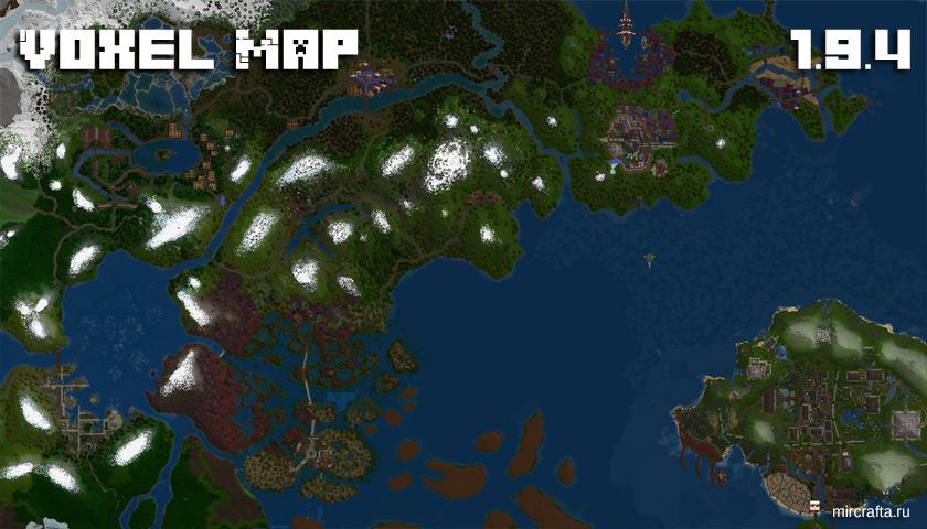 Мод VoxelMap для Майнкрафт 1.9.4 - мини карта